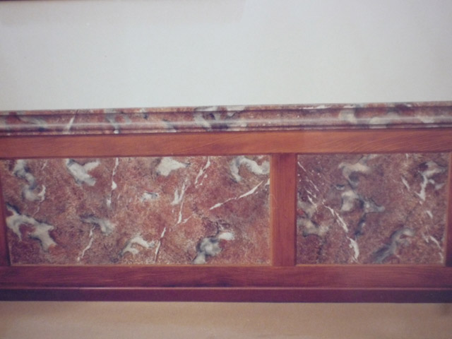 Boiserie trompe l'oeil in finto marmo e finto legno