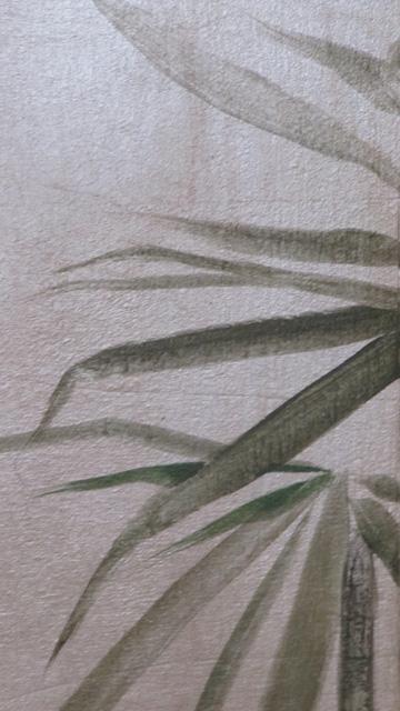 Foglia d'argento brunita con dipinto bamboo e decoro geometrico ripreso da un disegno dell'Arch. Portaluppi