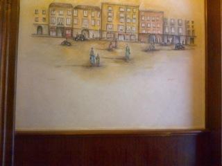 Quadro all'ingresso, la via Borgospesso e il ristorante negli anni 50