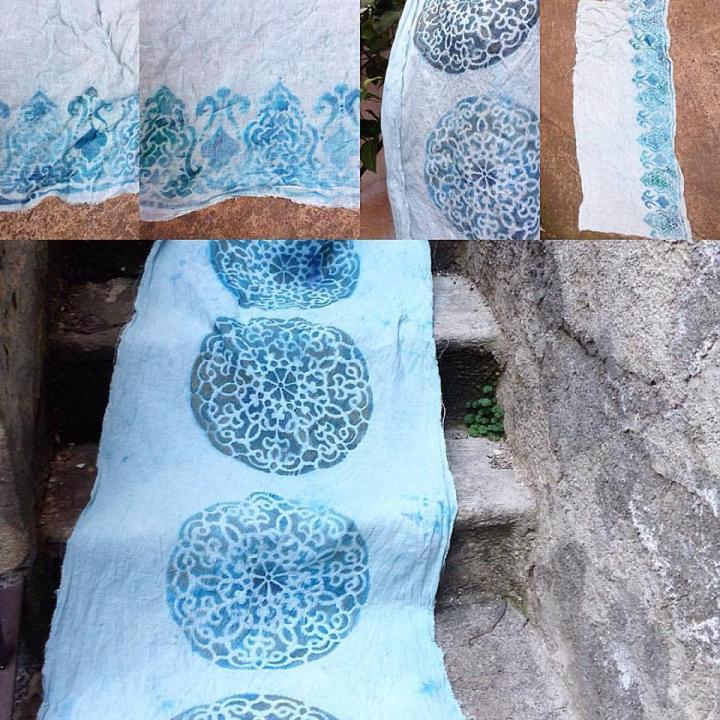 Garza di lino con decori fatti a mano per tovaglie,parei,tende,cuscini